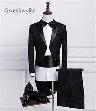 Gwenhwyfar Black White Long Wedding Groom Tailcoat Cheap 2018 Mens Suits 2Piece Groom Tuxedos Male Suits Blazer Set Jacket Pants