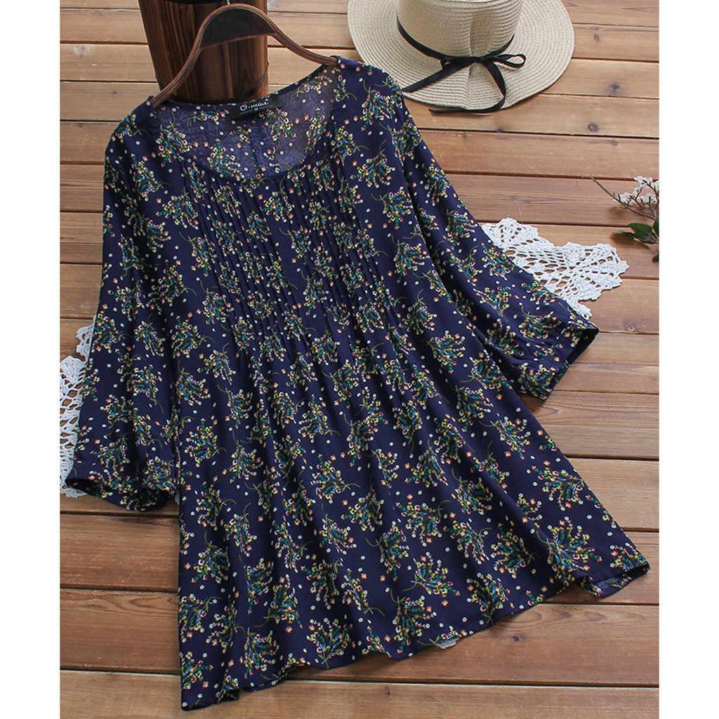 Plus Ukuran Blus Wanita BoHo Pakaian Tunik Wanita Blus 2019 Harajuku Longgar Wanita Top Korea Fashion Pakaian Camisas Mujer