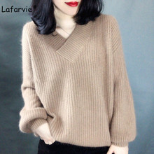 Lafarvie High Quality Cashmere Blended Knitted Sweater Women Tops Autumn Winter V-neck Pullover Female Warm Loose Jumper