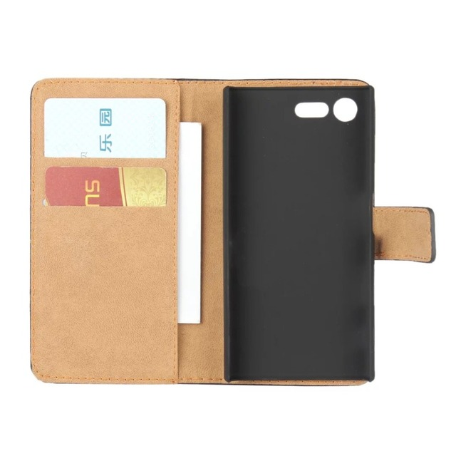 sports shoes 32d82 03ebc US $5.47 |For Sony Xperia X Compact Wallet case,Book Style Stand Real  Genuine Leather Case Card Flip Cover -in Phone Pouch from Cellphones & ...