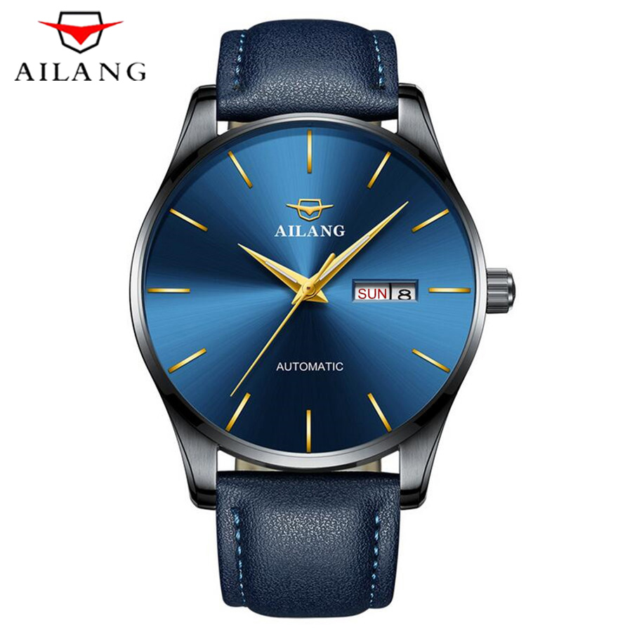 Men's Business Genuine Leather Automatic Mechanical Watch Auto Date Top Luxury Brand Fashion Casual sports Wrist Male Watches mens watches top brand luxury 2017 aviator white automatic mechanical date day leather wrist watch business reloj hombre