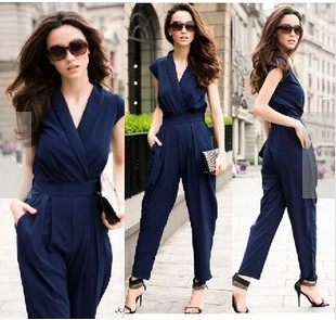 eac3b97c0e08 Black Blue Red Fashion V-Neck Lady s Rompers Tank Sleeveless Overall Women s  Jumpsuit Casual Harem Pants Free Shipping