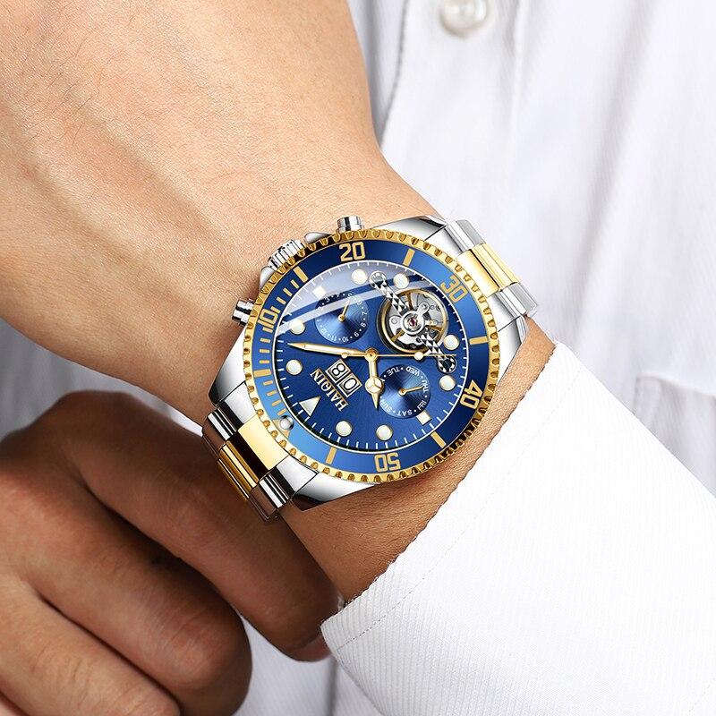 HAIQNI męska zegarki zegarka mężczyzna maszyn mężczyźni luksusowe złoty zegarek ze stali nierdzewnej wodoodporny zegar Relogio Masculino w Zegarki mechaniczne od Zegarki na  Grupa 3