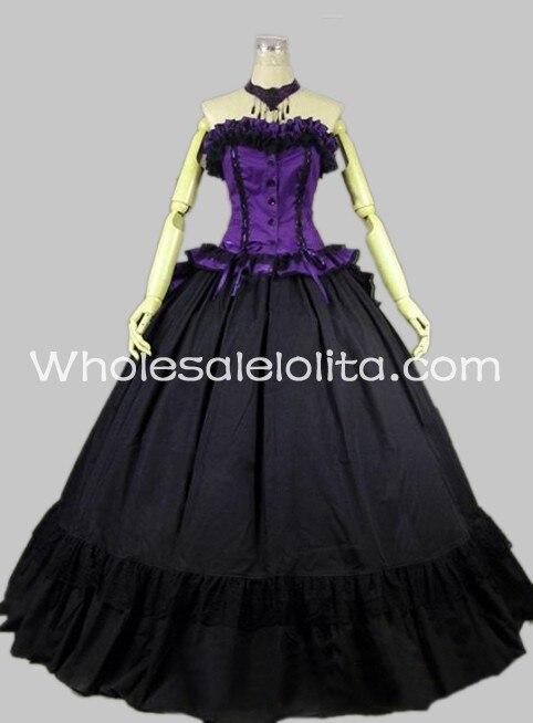 Готический черный и фиолетовый без рукавов в викторианском стиле платье для проведения реконструкции исторических событий бальное платье