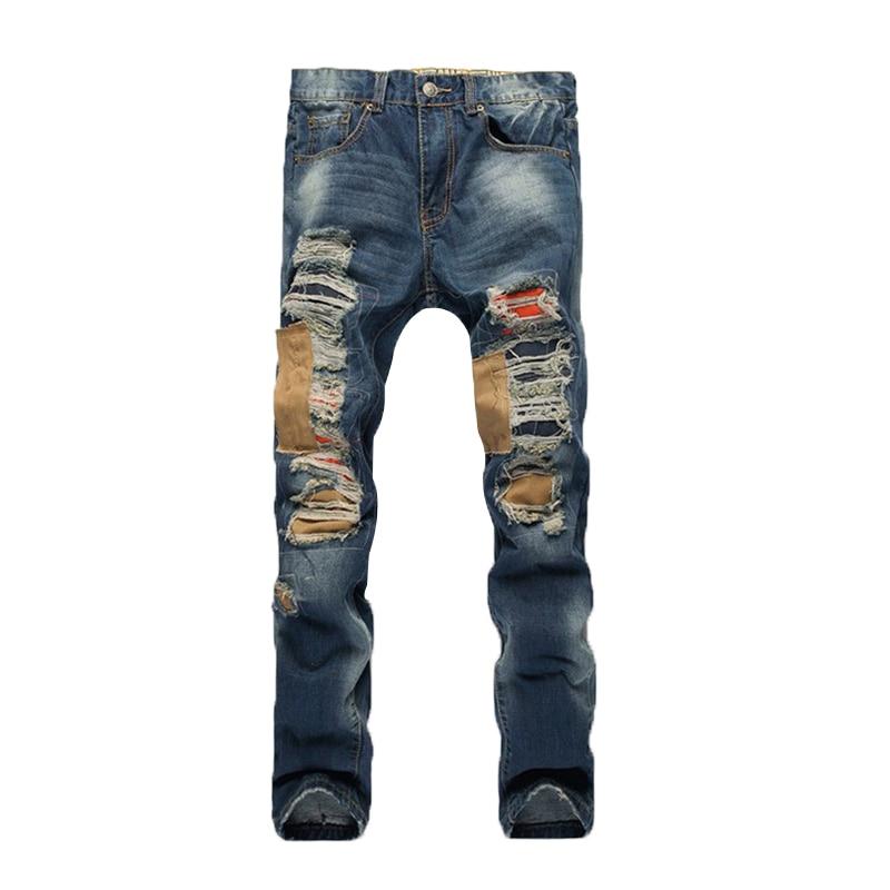 Ripped Hole Biker Jeans for Men Punk Street Beggar Patch Hip Hop Male Jeans 2017 New Men's Fashion Straight Trousers 2017 fashion patch jeans men slim straight denim jeans ripped trousers new famous brand biker jeans logo mens zipper jeans 604