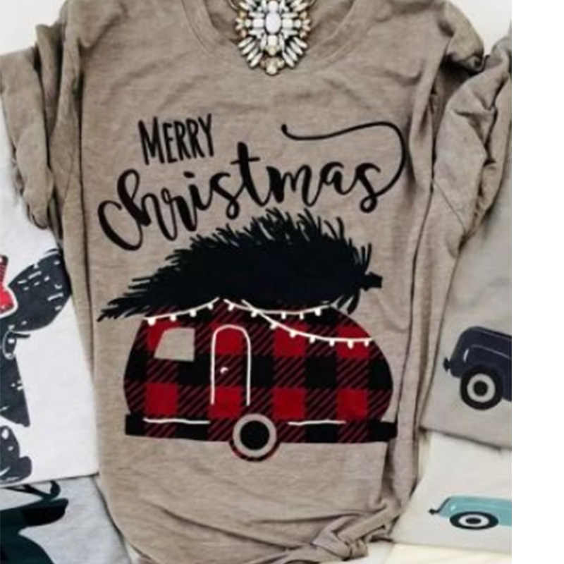 2019 frohe weihnachten plaid auto top gobble t weibliche t-shirt tops mode t frauen t-shirts gobble kleidung grafik