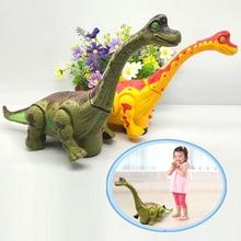 Новинка, электрическая игрушка, универсальный ходячий робот-динозавр, светильник со звуком, Брахиозавр, работающий на батарейках, подарок для детей, мальчиков и девочек