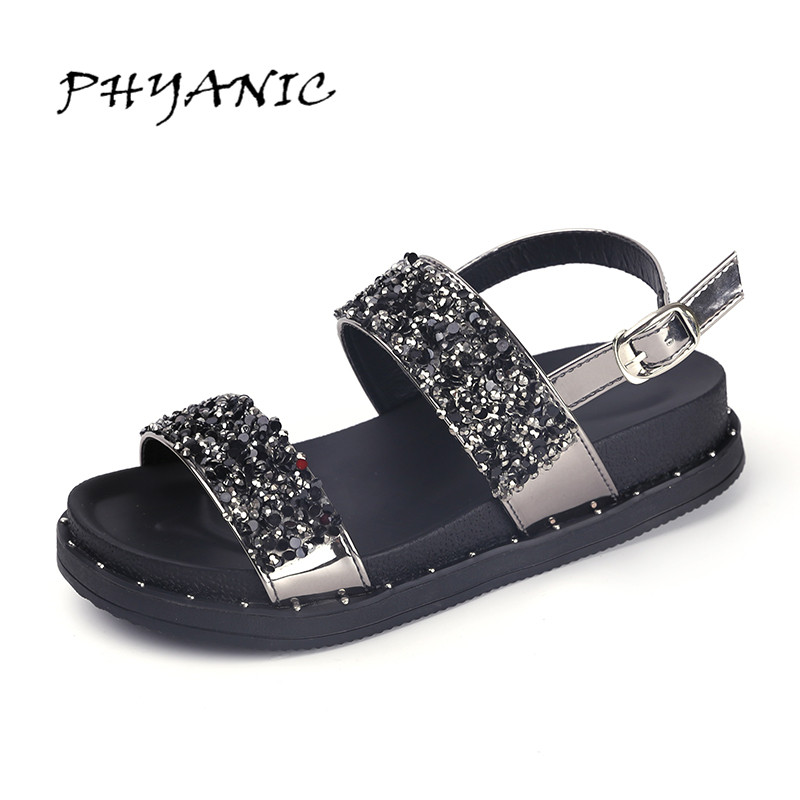 PHYANIC Summer Gladiator Sandals 2017 Bling Glitter Platform Shoes Woman Casual Beach Creepers Women Flats Shoes PHY4042 timetang 2017 leather gladiator sandals comfort creepers platform casual shoes woman summer style mother women shoes xwd5583