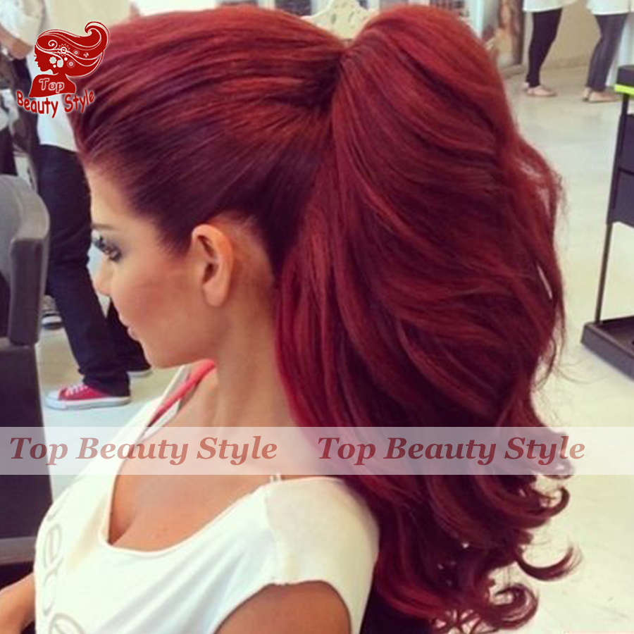 Top Quality Ombre Wig Black Roots Red Hair Synthetic Lace -8093