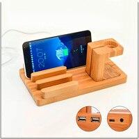 Multi-função de telefone desk stand holder para iphone ipad mini para a apple watch caneta de bambu de carregamento dock station 4 portas usb