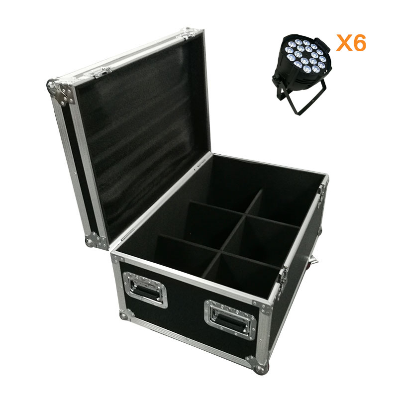 FlightCase with 2/4/6/8pcs Aluminum alloy LED Par 18x12W RGBW 4in1 LED Par Can Par 64 led spotlight dj projector wash lighting 4pcs lot aluminum led par 18x12w rgbw 4in1 led par can par 64 led spotlight dj projector wash ligh with power in power out
