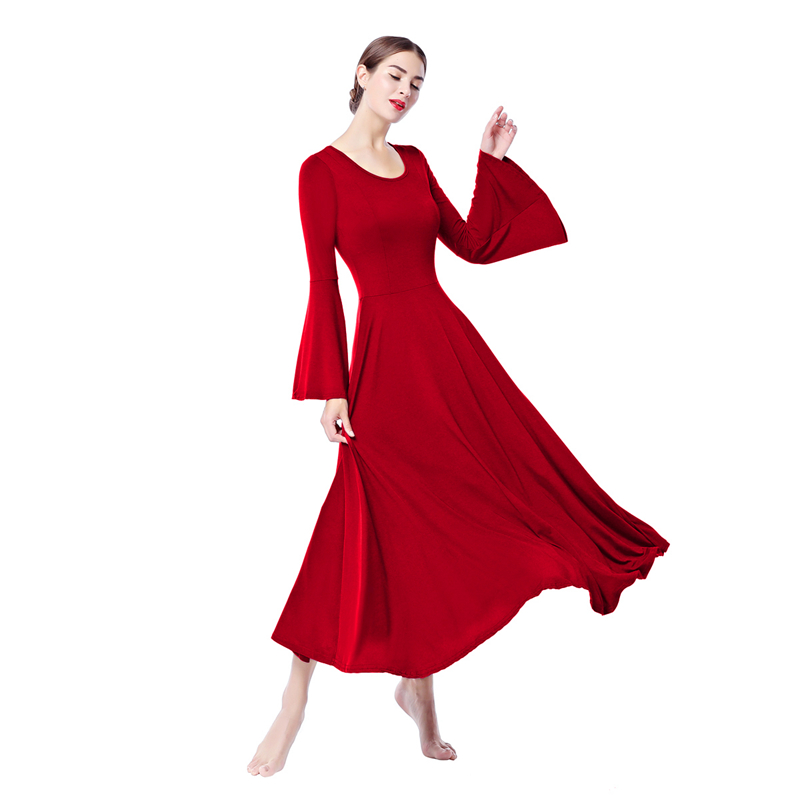 2019 New Women Adults Ballet Dress Waltz Latin Tango Dance Wear Bell Sleeve Pleated Church Liturgical Dance Costume Praise Dress in Ballet from Novelty Special Use