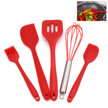 Solid Color 5 Piece/Set Healthy Silicone Cooking Tools Whisk Durable Simple Design Kitchen Kitchenware