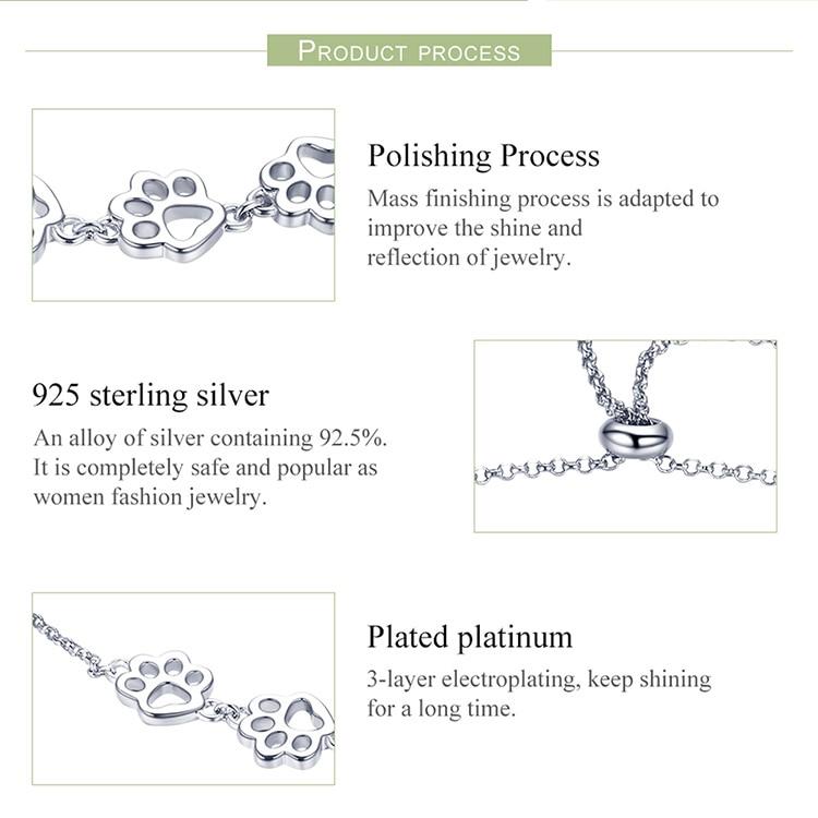 HTB1CA9CadzvK1RkSnfoq6zMwVXai BAMOER New Arrival Genuine 925 Sterling Silver Animal Footprints Chain Bracelets for Women Valentines Day Jewelry Gift SCB096