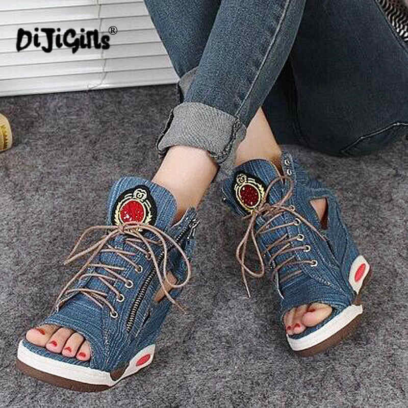 ed69a242b ... DIJIGIRLS Spring Summer Open Toe Shoes Sexy Lady Pumps High Heel Girl  Wedge Sandals Platform Lady ...