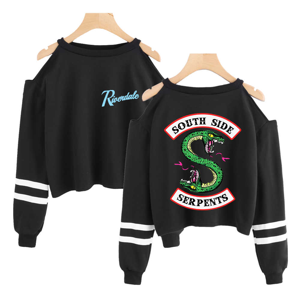 Riverdale Cropped Sweatshirt Harajuku South Side Serpent Print Crop Top Sweatshirt For Women Sexy Off The Shoulder Clothing