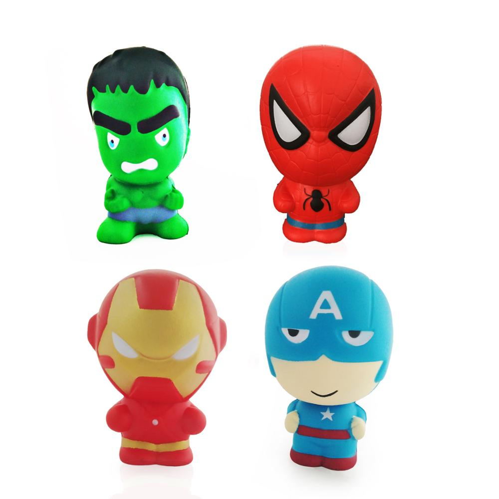 Avengers Squishy Super Hero Slow Rising Spiderman Iron Man Captain American Squishy Toy For Children Stress Reliever Toy Popular