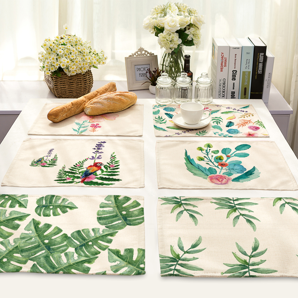 Green color Ink painting series Table Mat Animal Table Napkin Placemat Kitchen Decoration Dining Accessories 42x32cm MP0014
