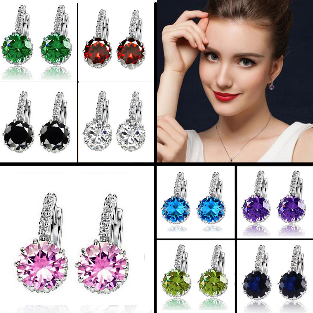 Stainless steel 9 Color White Pink Steel Purple Color Zircon Earrings For Women Crystal Stud Earring Fashion Wedding Jewelry