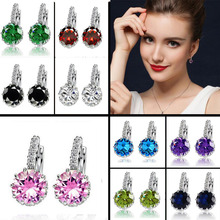 Top Quality 9 Color White Pink Steel Purple Color Zircon Earrings For Women Crystal Stud Earring Fashion Wedding Jewelry