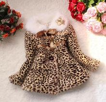 Девочка дети принцессы искусственного меха леопардовый теплая куртка зима Snowsuit пиджаки детская одежда для размера 2-6Y