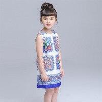 Moda W Stylu Vintage Sukienka Dziewczyny Lato Niebieski I Biały Porcelany Floral Bez Rękawów Sukienki dla Dziewczynek Ubrania Dla Dzieci Hurtownia HB2109