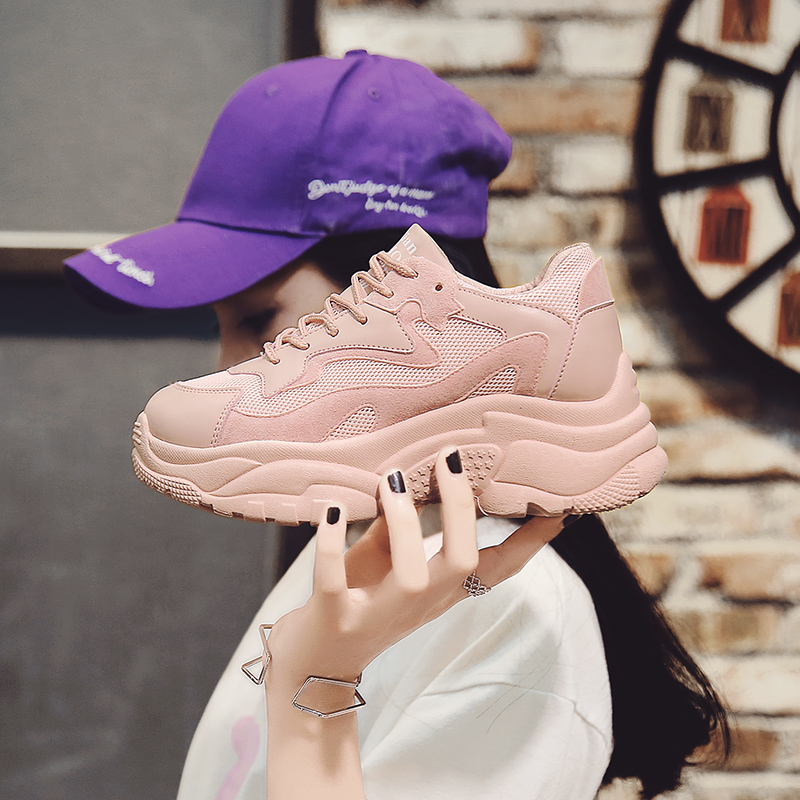 901c77c7c85f3b Women s Chunky Sneakers 2018 Fashion Women Platform Shoes Lace Up Pink  purple Female Trainers Dad Shoes Bambas Plataforma Mujer