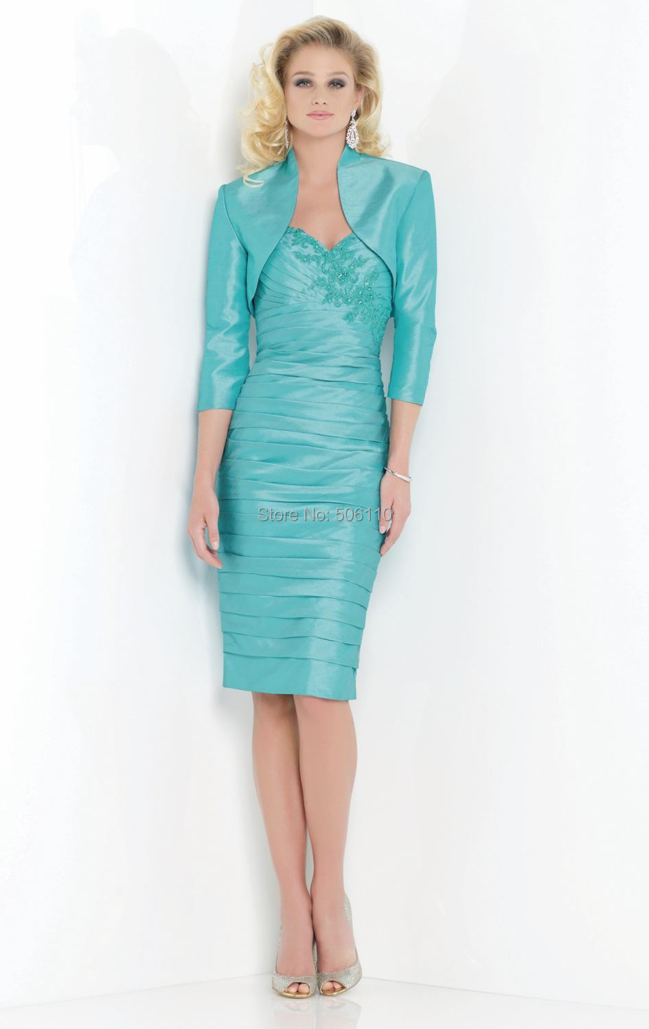 Mint Green Three Quarter Sleeve Mother of the Bride/ Groom Dresses ...
