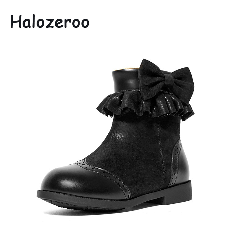 Halozeroo Winter New Baby Girl Pu Leather Ankle Boots Children Bow Warm Shoes Kid Soft Black Boots Fashion Brand Shoes SweetHalozeroo Winter New Baby Girl Pu Leather Ankle Boots Children Bow Warm Shoes Kid Soft Black Boots Fashion Brand Shoes Sweet