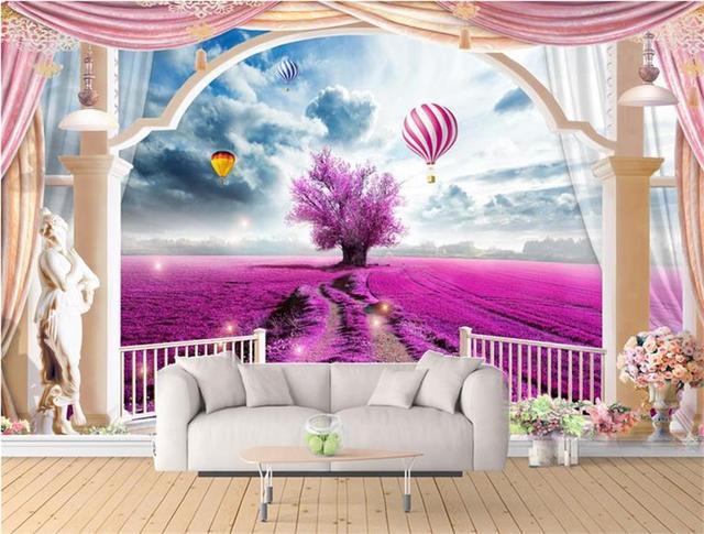 custom 3d photo wallpaper living room 3d mural sticker Lavender ...