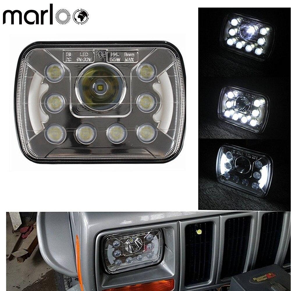Marloo Pair 5x7 6x7 Projector Led Headlights Angel Eyes Drl Sealed Beam For Jeep Cherokee Xj