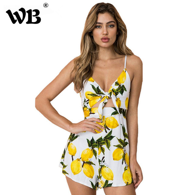 41efa8518d3 Sexy Lemon Print Backless Lace Up Jumpsuit Women 2018 Summer Bow Knot Off  Shoulder Playsuit Beach Party Sweet Overalls