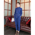 Hot Sale  New Fashion Women's Handsome long sleeve full length Jeans Jumpsuit with button and pocket Free shipping