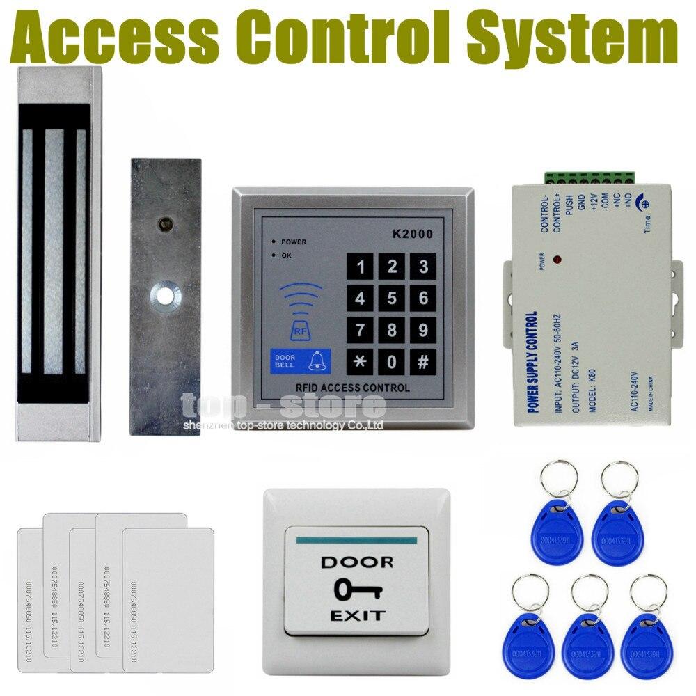 5 Cards Access Control Reader RFID Proximity Entry Lock Door K2000+5 Keyfobs