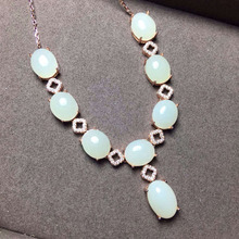 Natural white jade Necklace natural gemstone Pendant Necklace S925 Sterling silver trendy luxurious round women party Jewelry