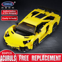 XingBao 03008 Creative Technic MOC Series The Yellow Flash Racing Car Set compatible LegoING Technic Car Blocks Bricks Toys