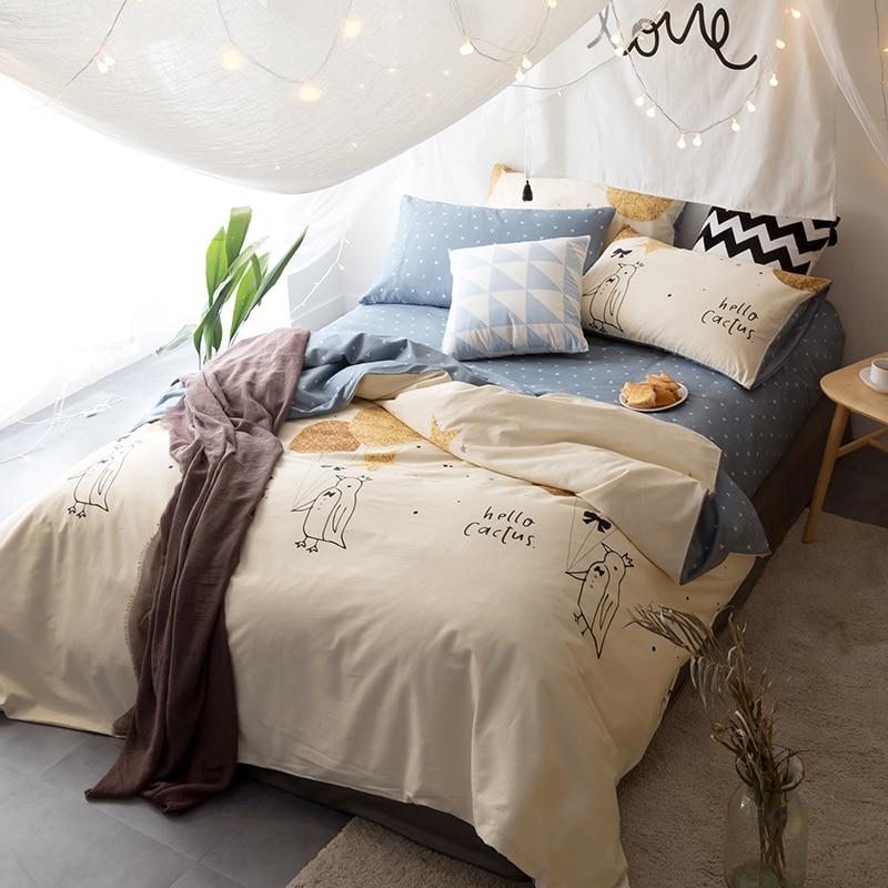 beige birds brief twin queen king size bedding sets soft cotton linens duvet cover set