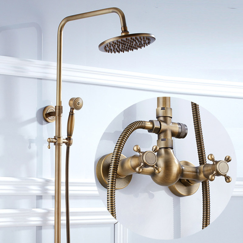 European retro Antique Brass bath tub cold and hot water mixer big shower faucet rotatable lifting type bronze shower