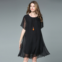 4XL women summer dress silk chiffon loose black plus size short sleeve party dresses knee length casual extra large brief dress