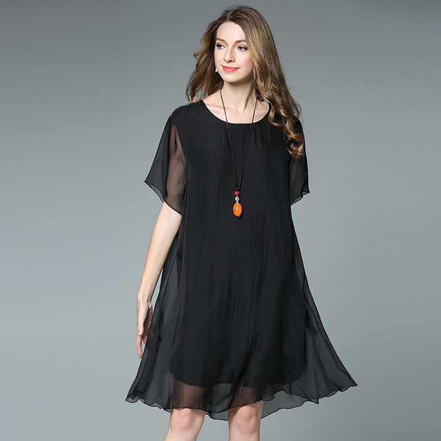 4XL women summer dress silk chiffon loose black plus size short sleeve  party dresses knee length c944553a7906