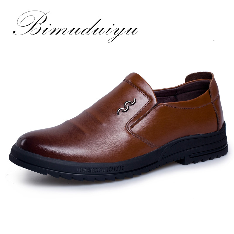 BIMUDUIYU Brand Breathable Men's Casual Shoes Really Leather Comfortable /Non slip Business Flat Loafer Shoes For Four Seasons bimuduiyu new england style men s carrefour flat casual shoes minimalist breathable soft leisure men lazy drivng walking loafer