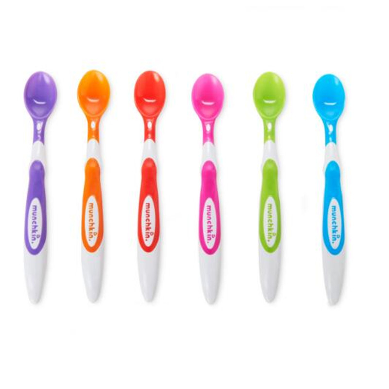 6pcs Baby Spoons Colorful Fun Soft Spoons Soft Head Round Design Care Baby Sensitive Gums Comfortable Grasp Shallow Easier Eat