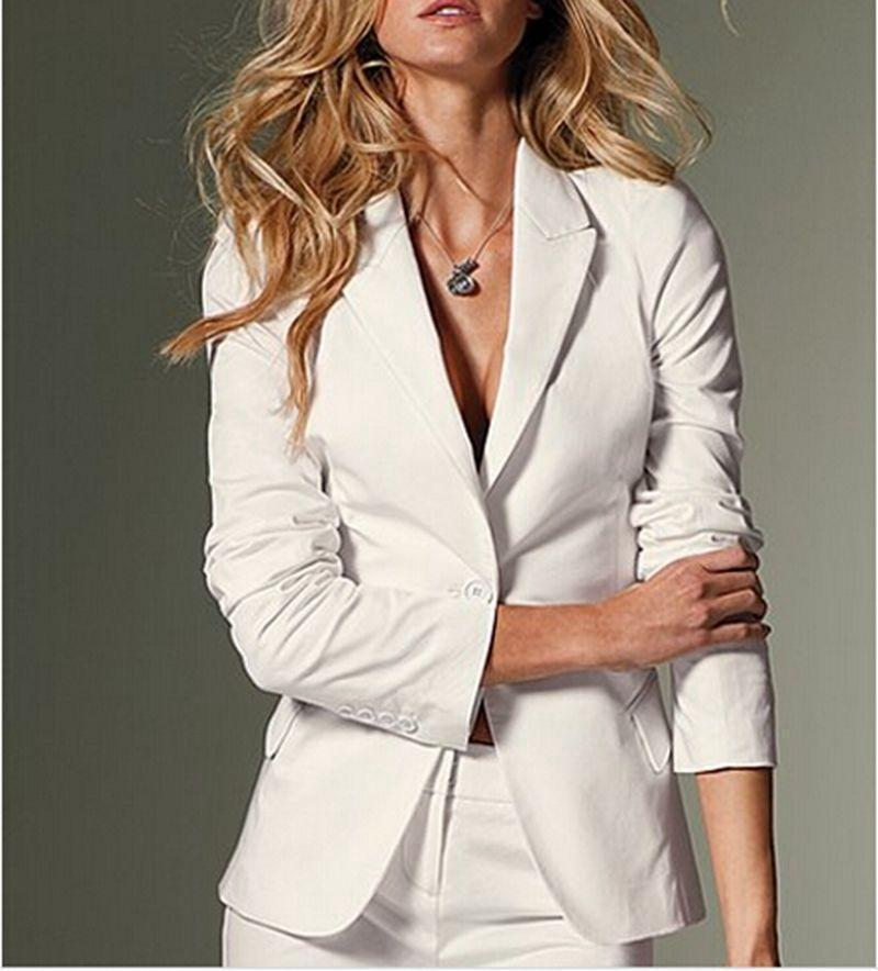 Hot White Custom Made Office Work Style Womens Suits Jacket+Pants Ladies Party Outfits Interview Suit B335