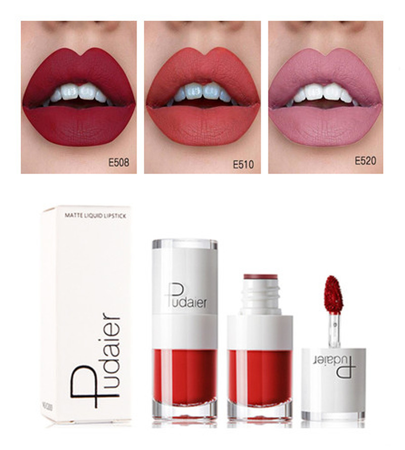 Liquid Matte Lipstick Waterproof Red Lip Makeup Tattoo Long Lasting Lip Tint Matte Plumper Lip Gloss Rouge Small white bottle image