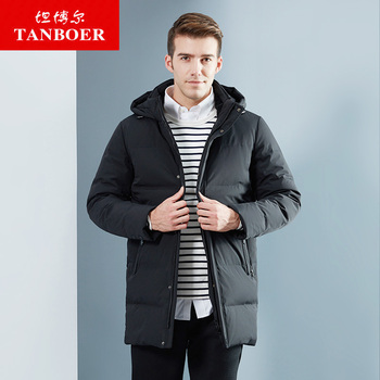 TANBOER men's down jacket warm winter coat for male polyester fabric grey duck down thick jacket TA18681