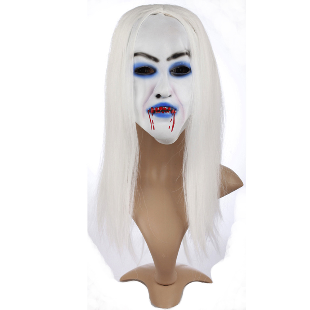 Aliexpress.com : Buy White hair Devil Ghost Mask Scary for ...