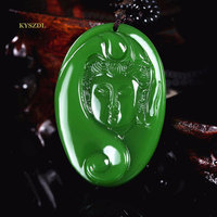 KYSZDL Natural green stone hand - carved Guanyin pendants men and women fashion necklace pendant jewelry gifts