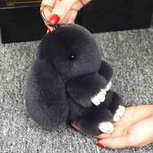 14 см милый плюшевый кролик брелок Рекс из натурального меха кролика брелки для женщин сумка игрушки кукла пушистый помпон прекрасный брелок с помпоном