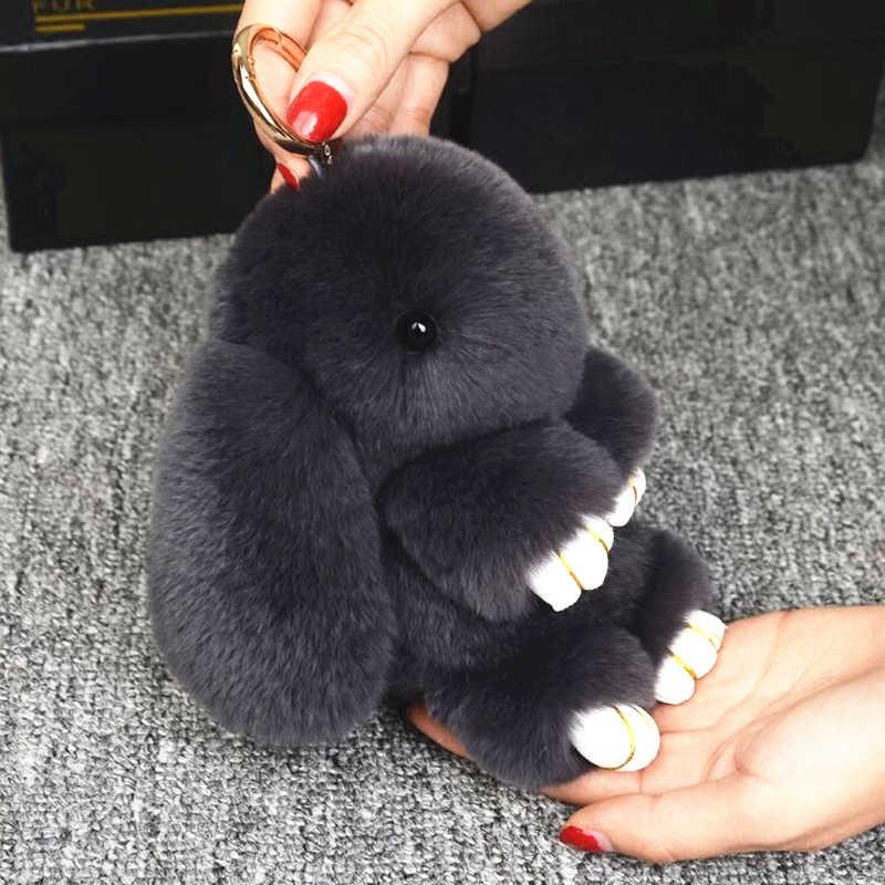 Pluff 14 cm Bonito Chaveiro Coelho Rex Genuína Pele De Coelho Chaveiro Para As Mulheres Saco de Brinquedos Boneca Fofo Pom Pom pompom lindo Chaveiro