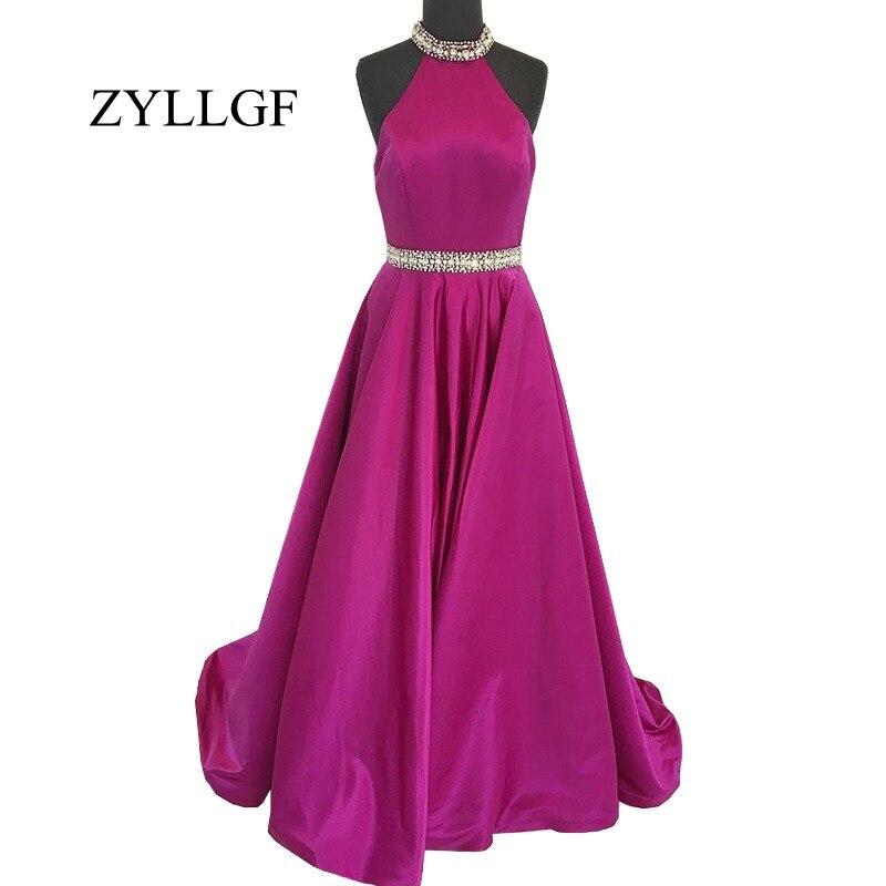 ZYLLGF réel échantillon longue robe de soirée 2019 une ligne licou perlé cristaux ceinture dos nu femmes robes de bal RS101